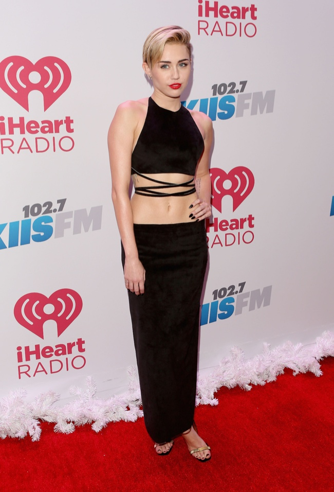 Miley Cyrus Bares Midriff in Calvin Klein Collection at the 2013 102.7 KIIS FM Jingle Ball