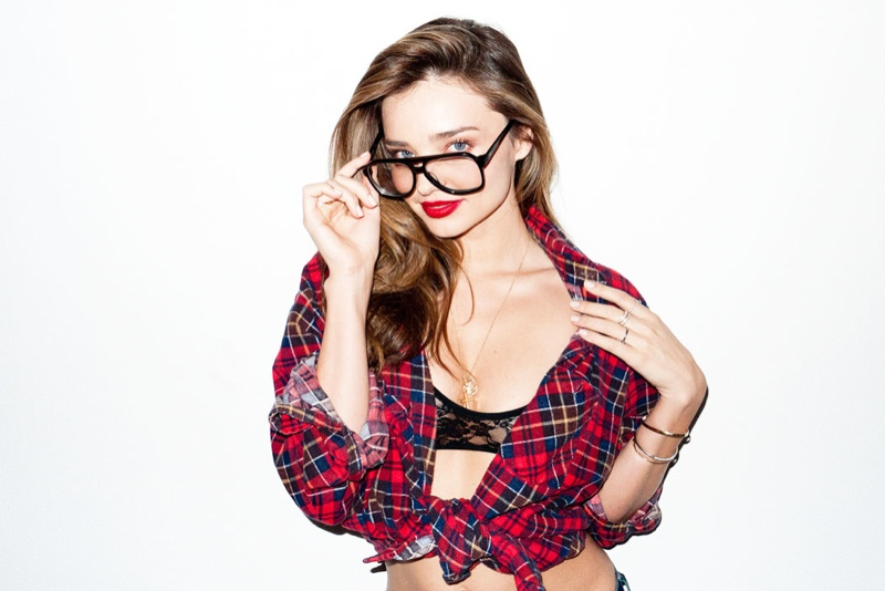 miranda kerr terry plaid4 Miranda Kerr Poses for Terry Richardson in Sexy Snaps