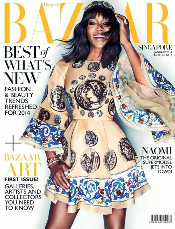 Naomi Campbell Covers Harper's Bazaar Singapore in Dolce & Gabbana