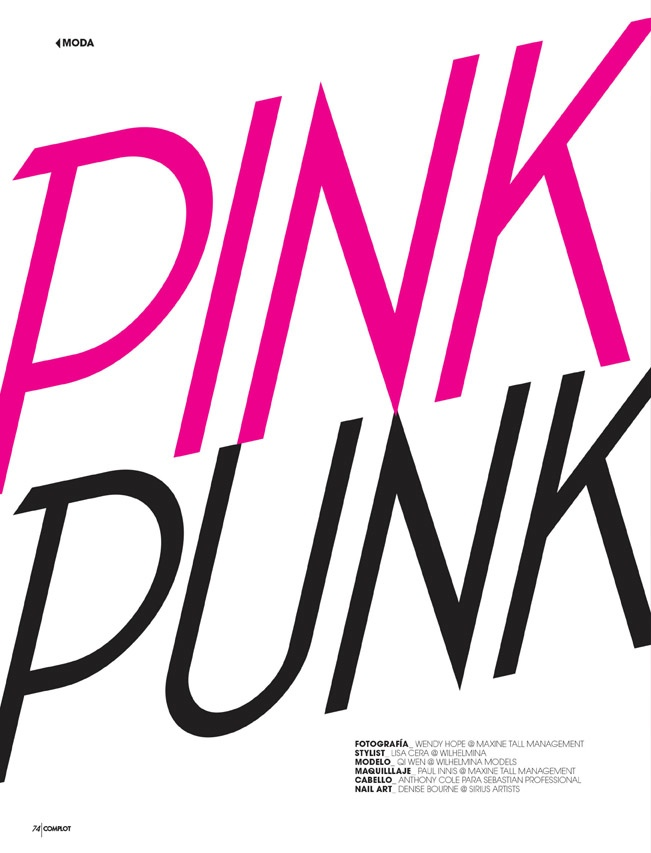 pink punk1 Qi Wen is a Pink Punk for Complot Magazine by Wendy Hope
