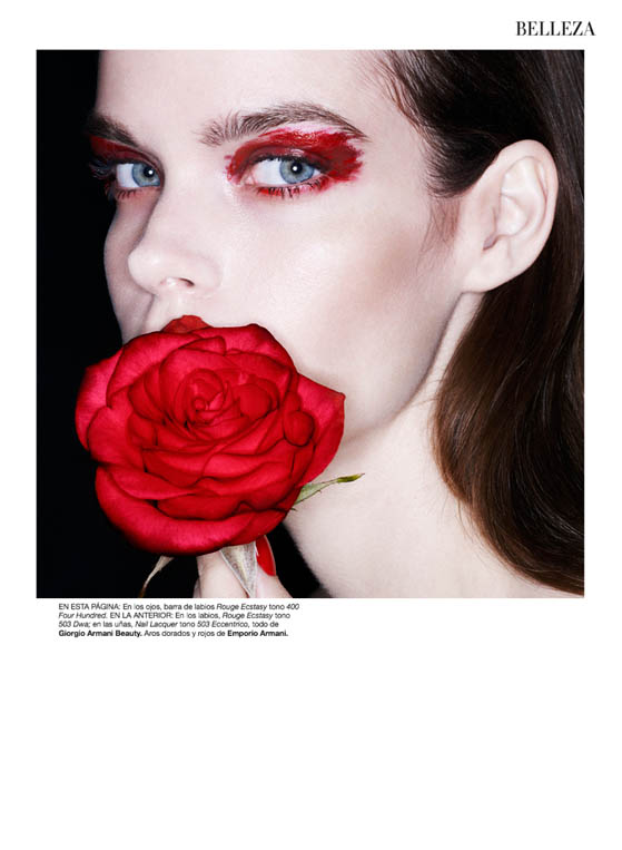 red beauty5 Meghan Collison Models Daring Beauty for Bazaar Spain by Nagi Sakai
