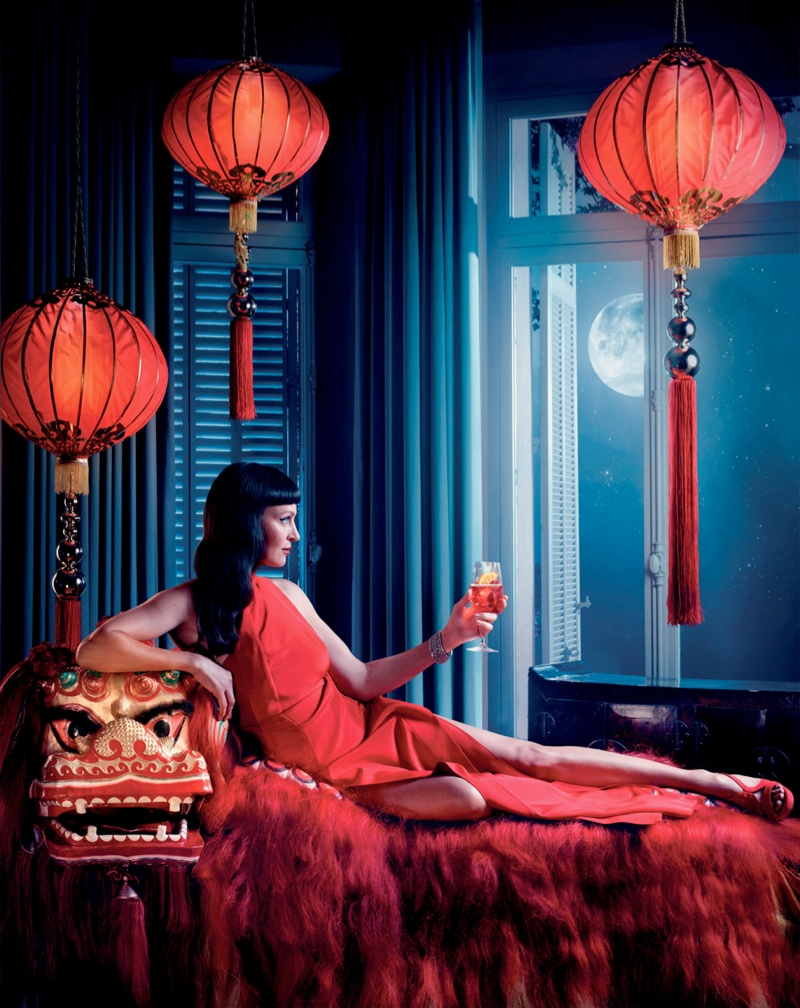 uma thurman campari calendar2 Uma Thurman Travels the Globe for Camparis 2014 Calendar