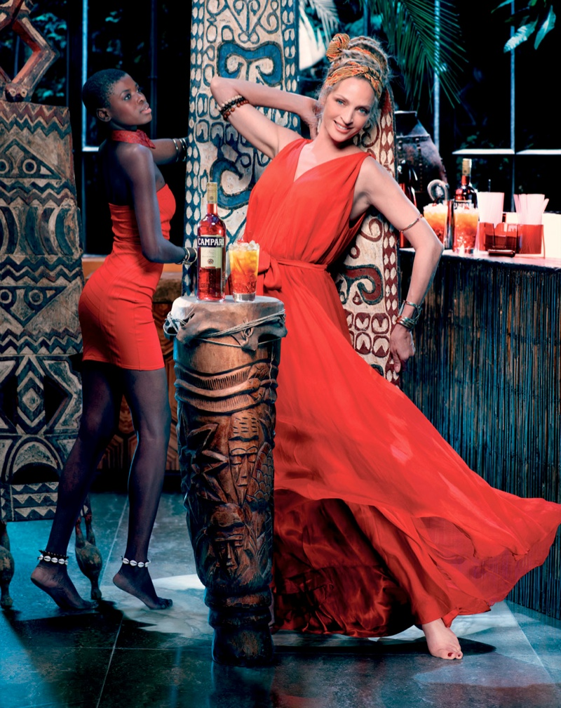 uma thurman campari calendar3 Uma Thurman Travels the Globe for Camparis 2014 Calendar
