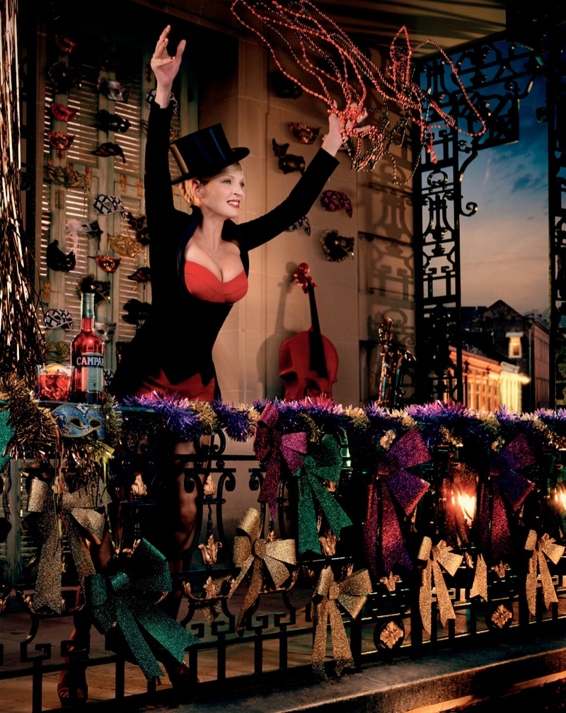 uma thurman campari calendar4 Uma Thurman Travels the Globe for Camparis 2014 Calendar