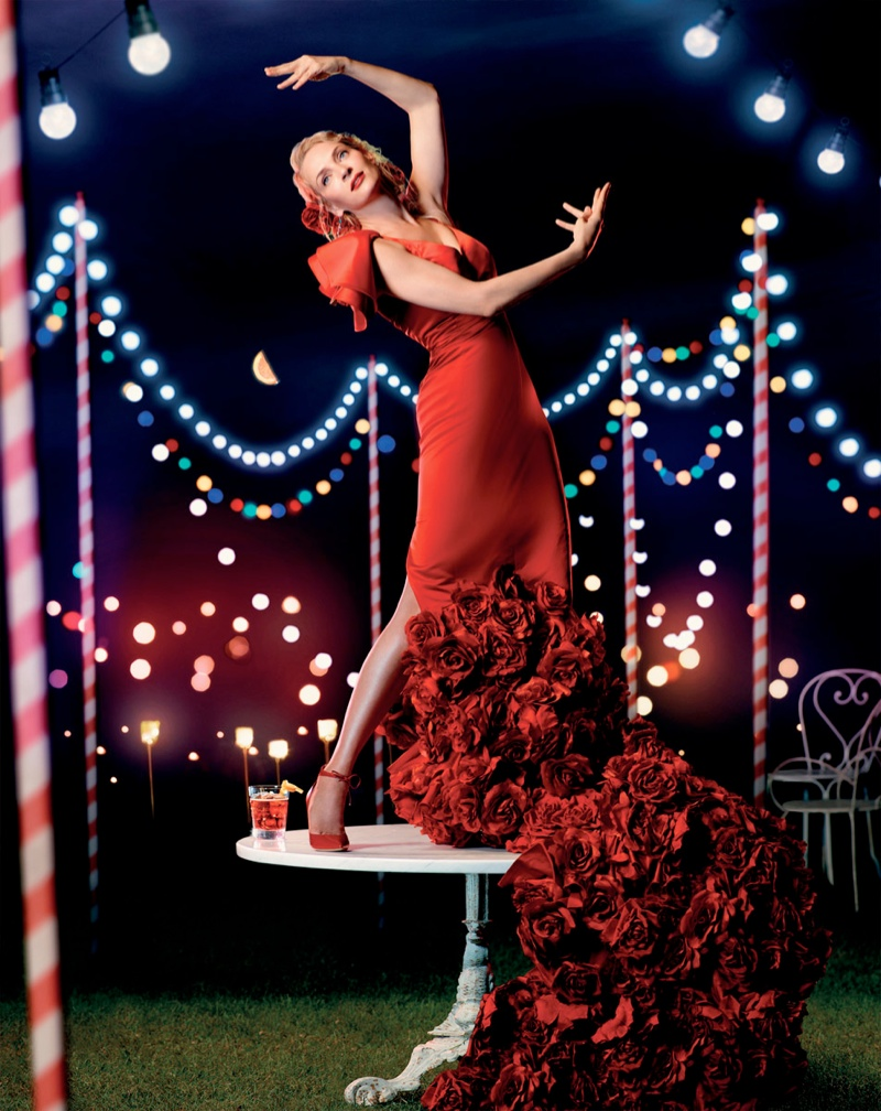 uma thurman campari calendar6 Uma Thurman Travels the Globe for Camparis 2014 Calendar
