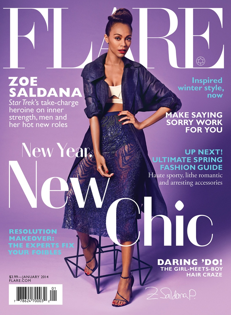 zoe saldana flare1 Zoe Saldana Stars in FLAREs January 2014 Cover Shoot