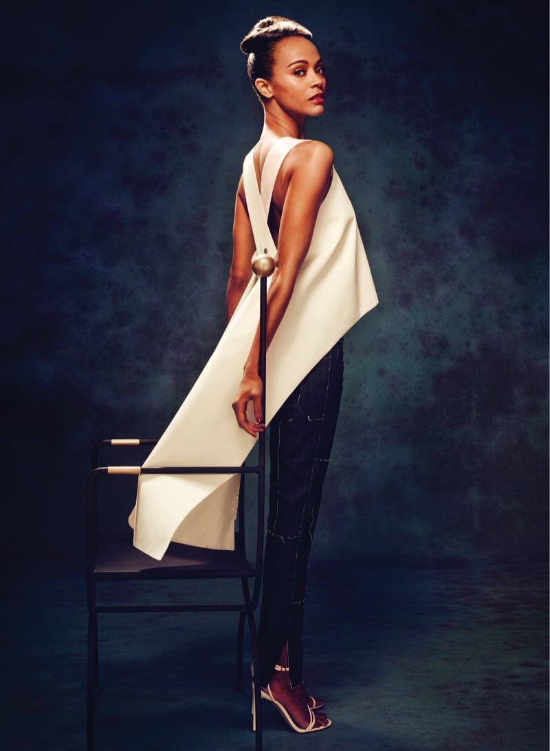 zoe saldana flare2 Zoe Saldana Stars in FLAREs January 2014 Cover Shoot