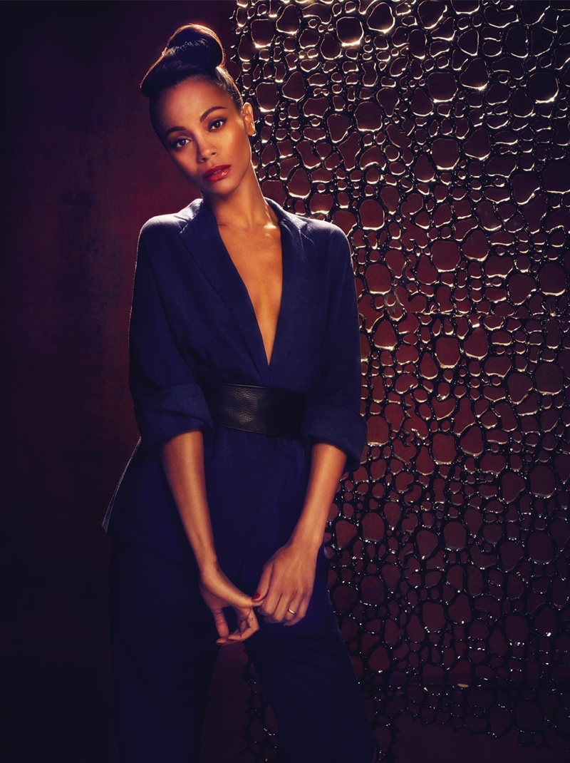 zoe saldana flare3 Zoe Saldana Stars in FLAREs January 2014 Cover Shoot