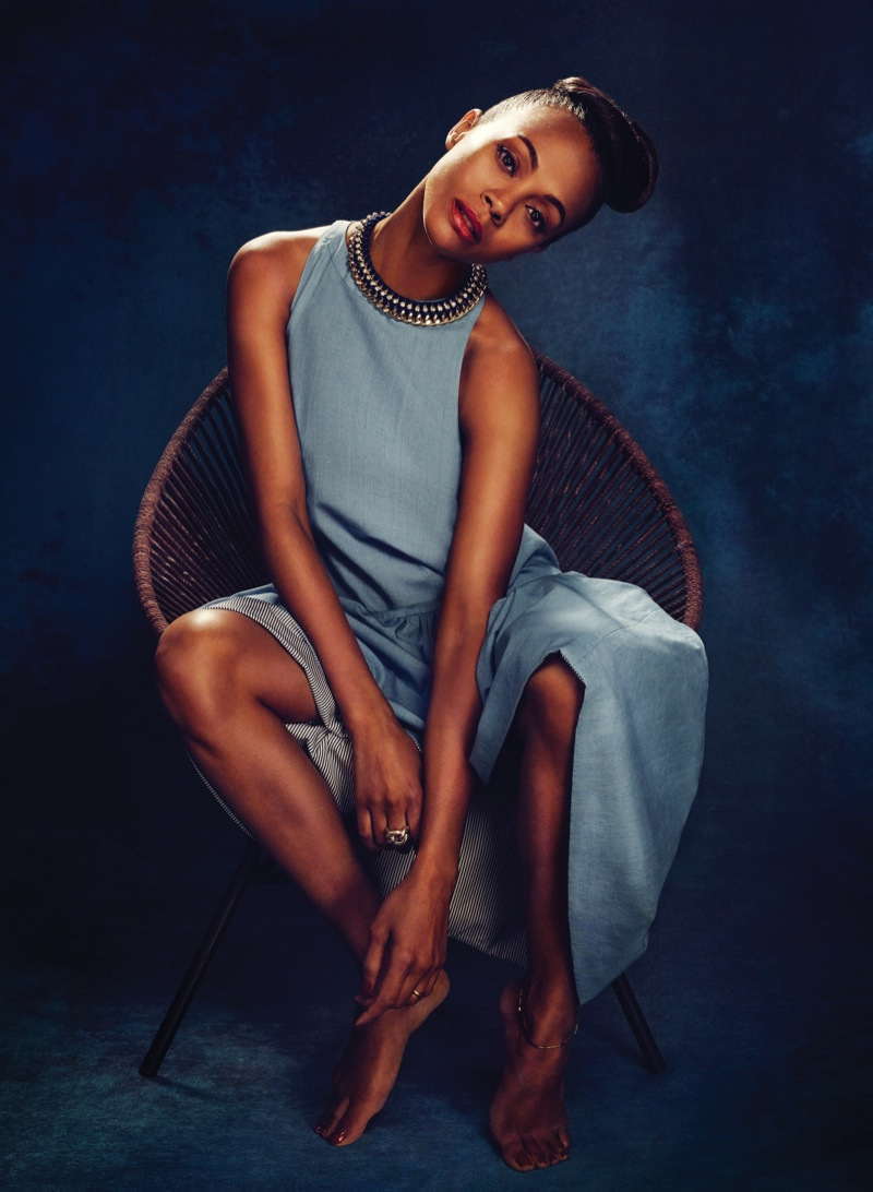 zoe saldana flare4 Zoe Saldana Stars in FLAREs January 2014 Cover Shoot