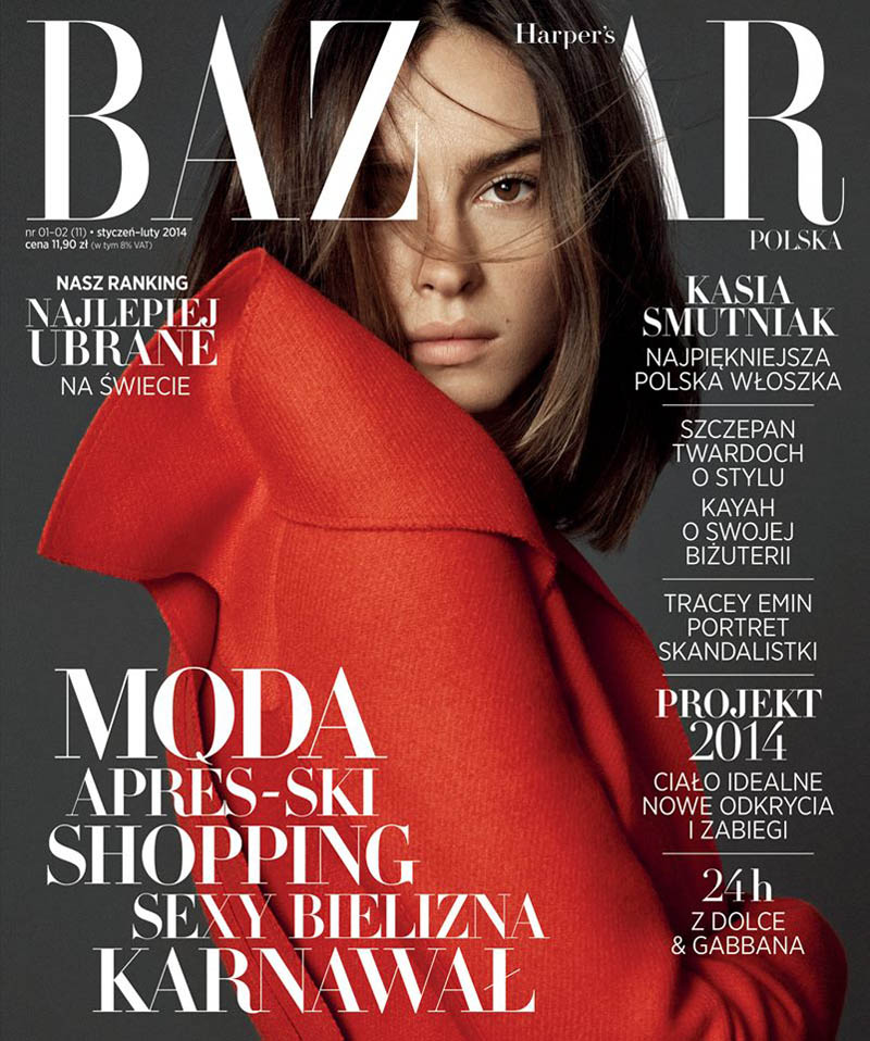Kasia Smutniak 2014 5 Kasia Smutniak Stars in Harpers Bazaar Poland Jan/Feb Cover Story