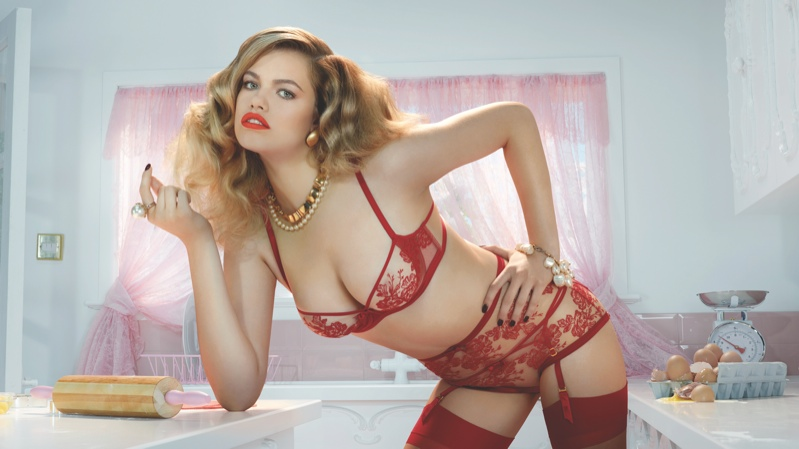 agent provocateur spring 2014 campaign1 Hailey Clauson Plays 50s Housewife for Agent Provocateur Spring Campaign