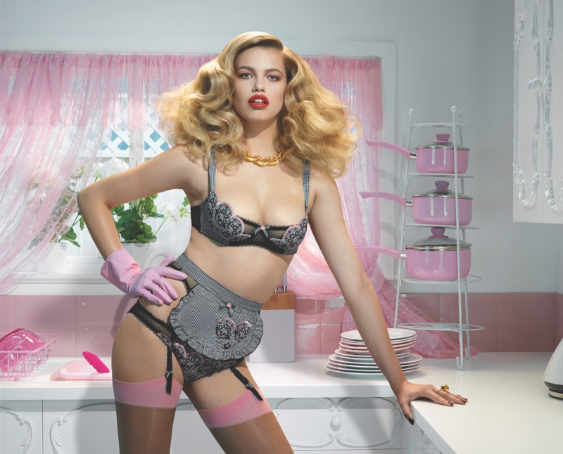 agent provocateur spring 2014 campaign3 Hailey Clauson Plays 50s Housewife for Agent Provocateur Spring Campaign