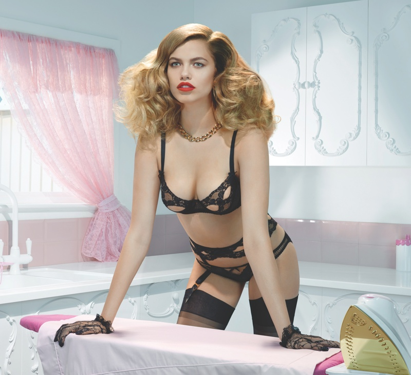 agent provocateur spring 2014 campaign6 Hailey Clauson Plays 50s Housewife for Agent Provocateur Spring Campaign