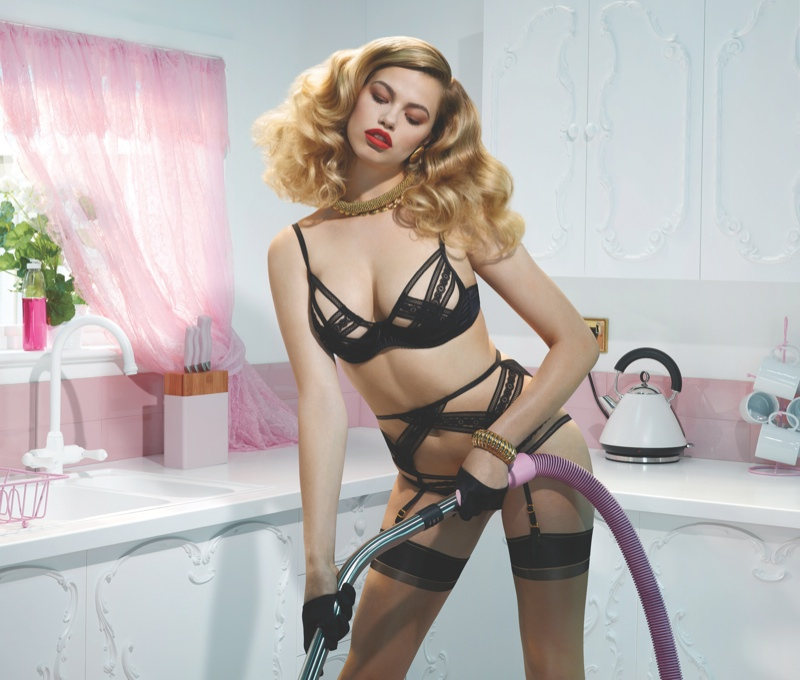 agent provocateur spring 2014 campaign8 Hailey Clauson Plays 50s Housewife for Agent Provocateur Spring Campaign