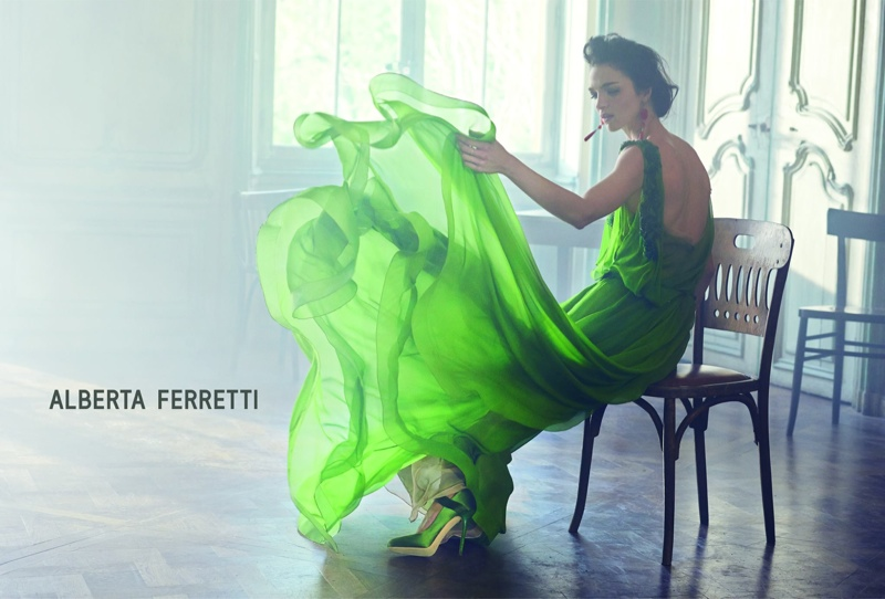 alberta ferretti spring 2014 campaign1 Mariacarla Boscono Poses for Alberta Ferretti Spring/Summer 2014 Campaign