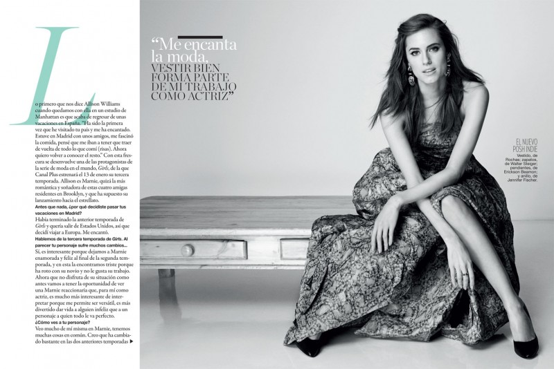 allison williams3 800x534 Allison Williams Poses for Blossom Berkofsky in Glamour Spain