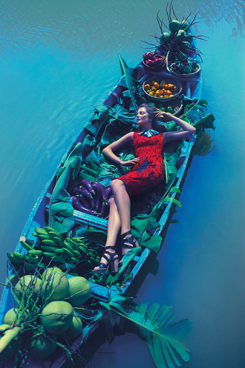 Eniko Mihalik Poses in Vietnam for Anthropologie Shoot by Diego Uchitel