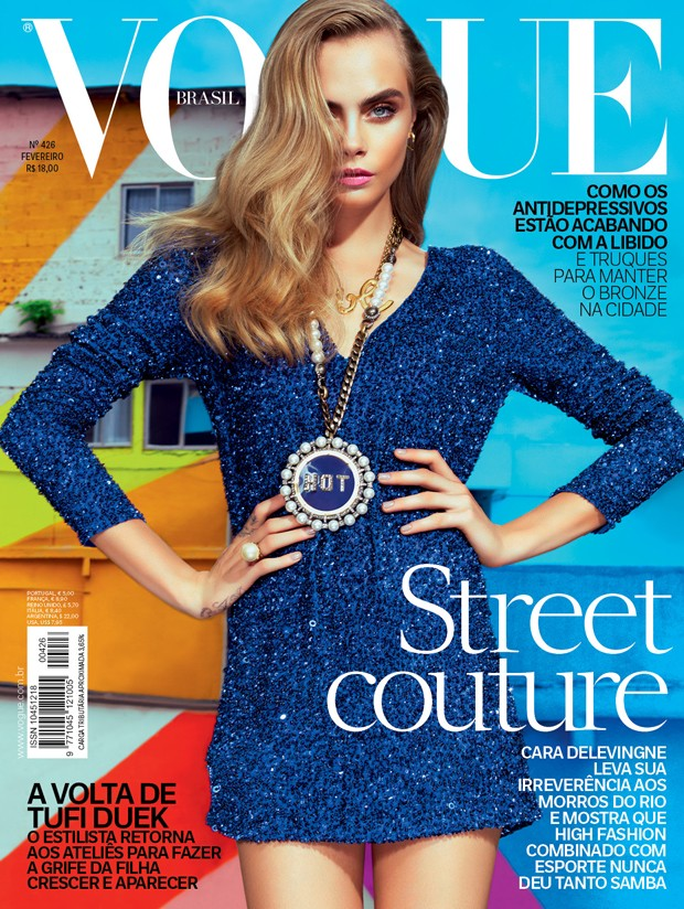 cara delevingne vogue brazil cover Cara Delevingne Lands Vogue Brazil February 2014 Cover