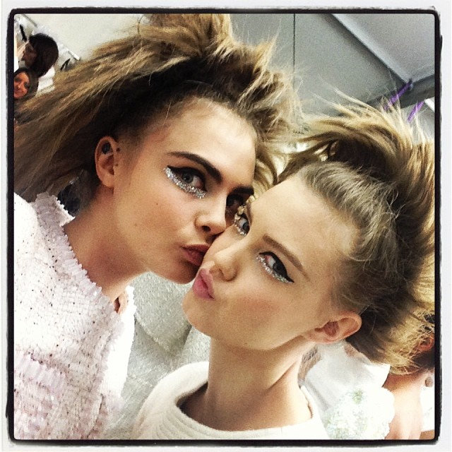 Cara Delevingne & Lindsey Wixson at Chanel Couture S/S 2014