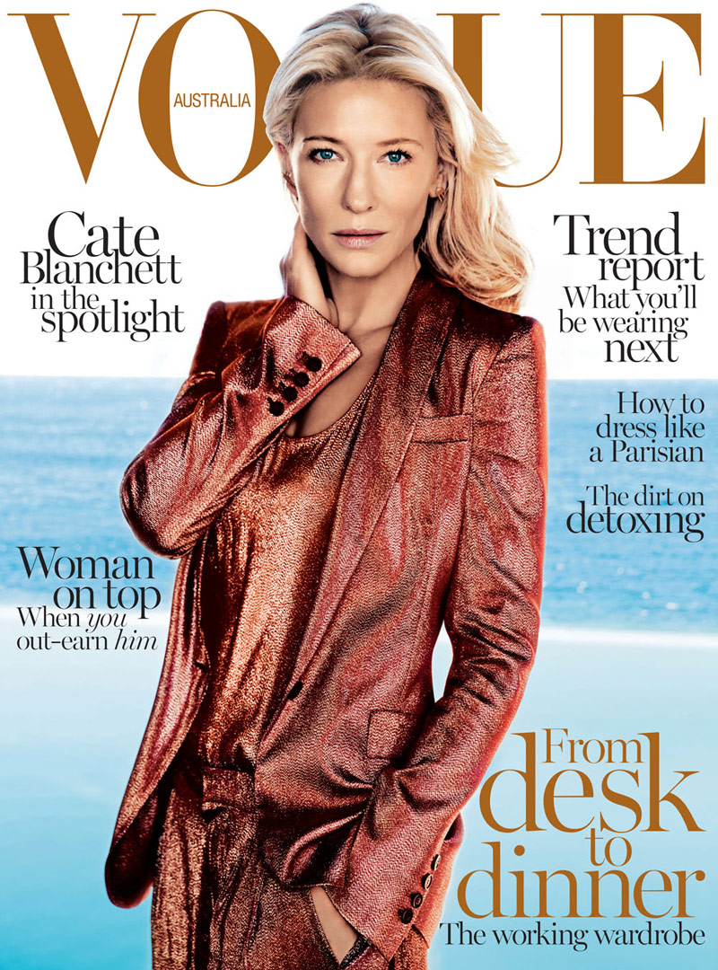 cate blanchett vogue au Cate Blanchett Covers Vogue Australia February 2014 in Gucci