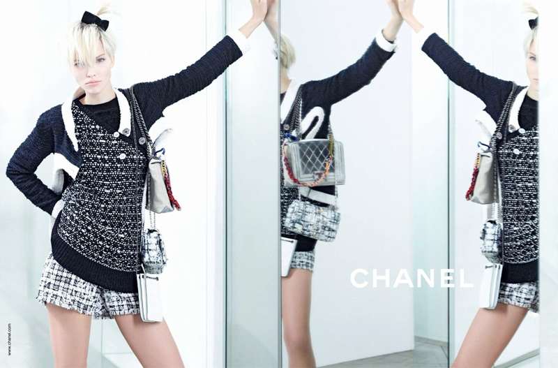 chanel spring 2014 ad1 Lindsey Wixson + Sasha Luss for Chanel Spring/Summer 2014 Campaign