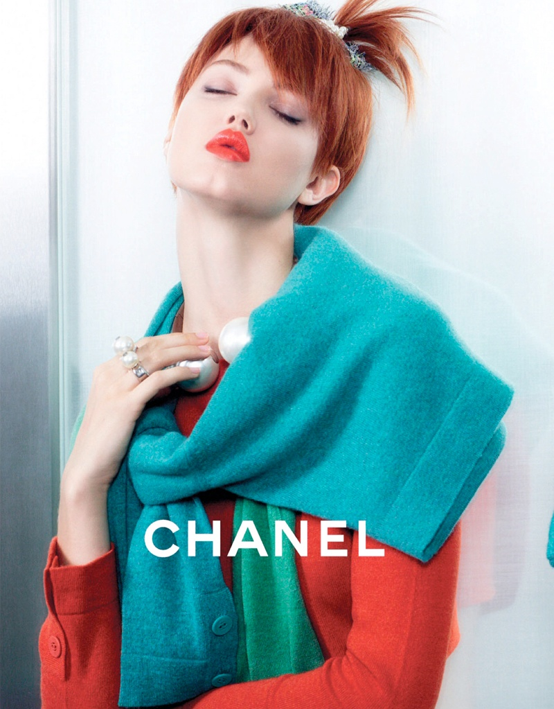 chanel spring 2014 ad3 Lindsey Wixson + Sasha Luss for Chanel Spring/Summer 2014 Campaign