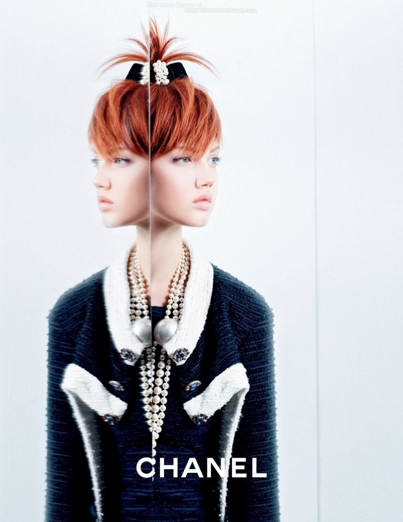 chanel spring 2014 ad5 Lindsey Wixson + Sasha Luss for Chanel Spring/Summer 2014 Campaign