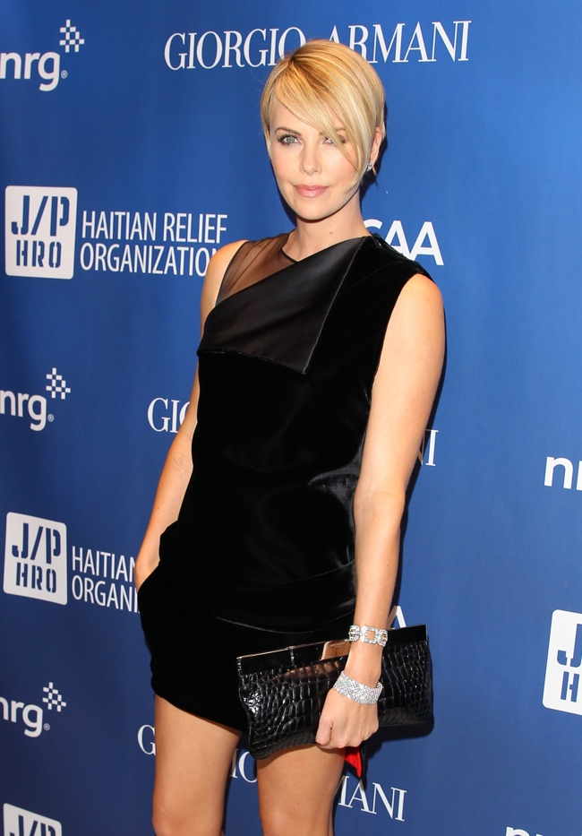 charlize theron givenchy dress2 Charlize Theron Wears Givenchy at the 3rd Annual Help Haiti Home Gala