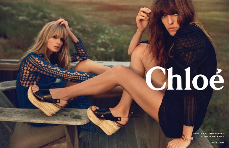 Julia Stegner + Lou Doillon Front Chloe Spring/Summer 2014 Campaign