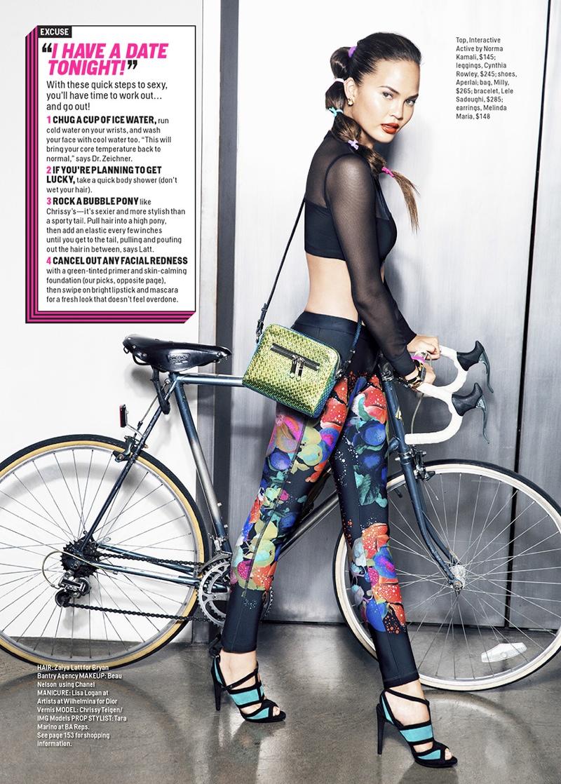 Chrissy Teigen Works Out in Style for Ben Watts in Cosmopolitan Shoot