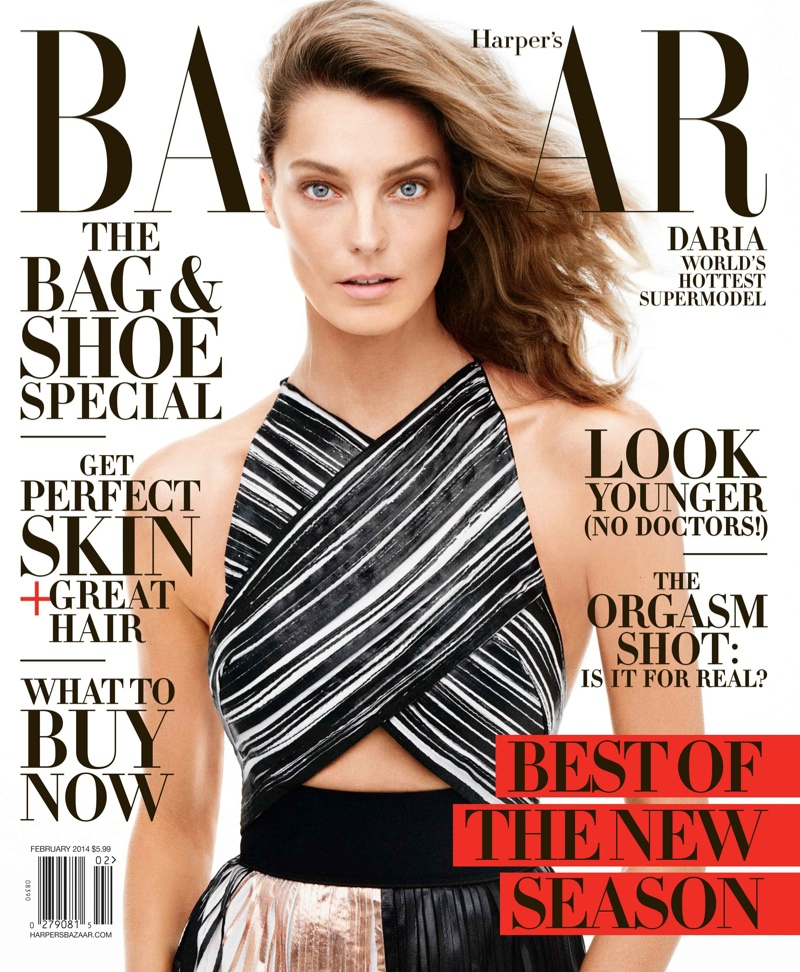 daria bazaar cover feature1 Daria Werbowy Covers Harpers Bazaar February 2014, Talks Turning 30