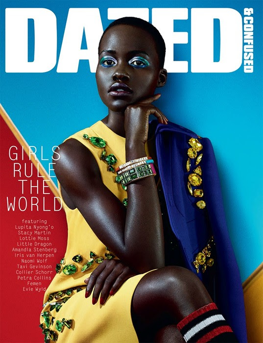 dazed lupita shoot1 Lupita Nyongo Covers Dazed & Confused February 2014 in Prada