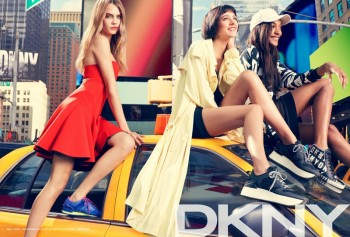 Cara Delevingne, Jourdan Dunn + Eliza Cummings for DKNY Spring 2014 Ads