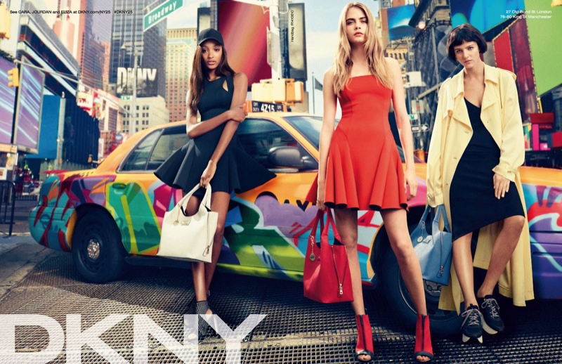 Cara Delevingne, Jourdan Dunn + Eliza Cummings for DKNY Spring 2014 Ads