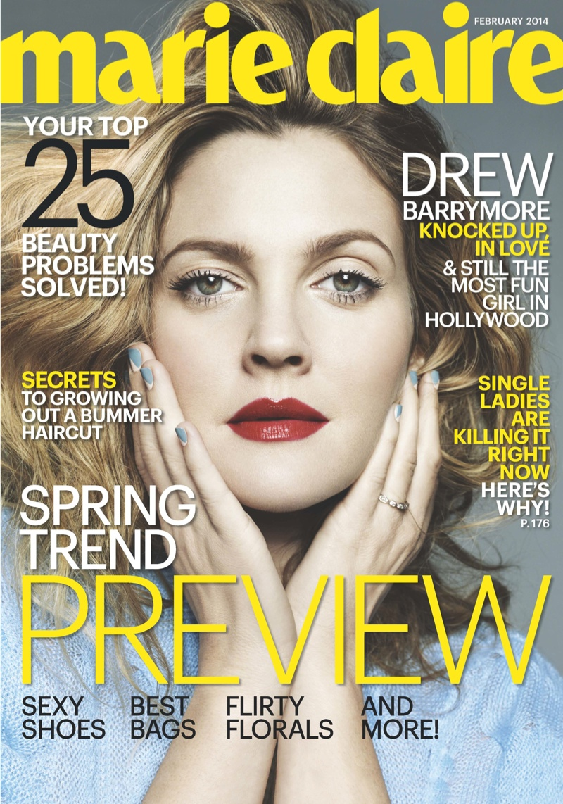 drew barrymore marie claire1 Drew Barrymore Covers Marie Claire, Calls Herself a Prude
