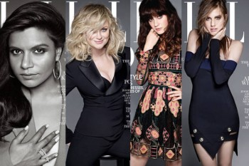 Zooey Deschanel, Mindy Kaling, Amy Poehler & Allison Williams Cover ELLE February 2014