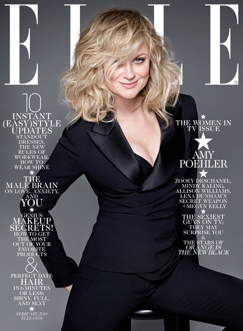 elle february cover2 Zooey Deschanel, Mindy Kaling, Amy Poehler & Allison Williams Cover ELLE February 2014