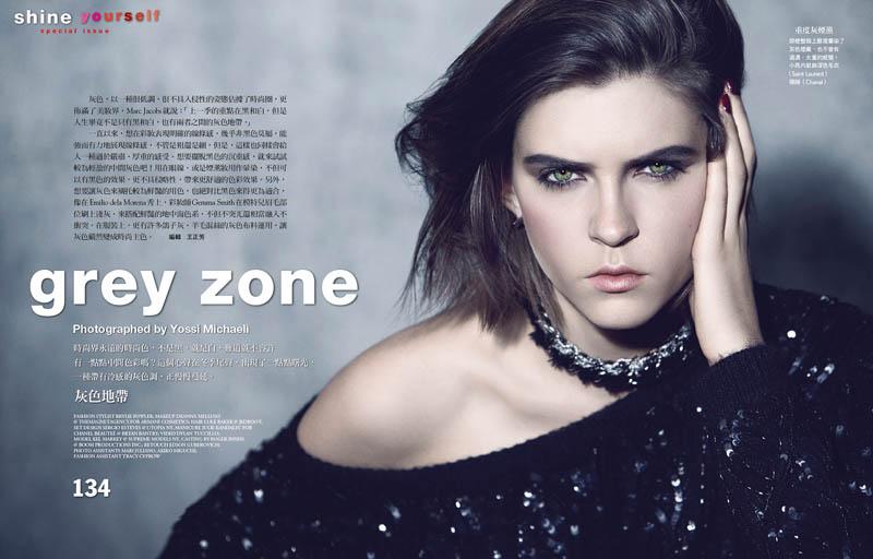 "Kel Markey Enters the ""Grey Zone"" for Vogue Taiwan by Yossi Michaeli"