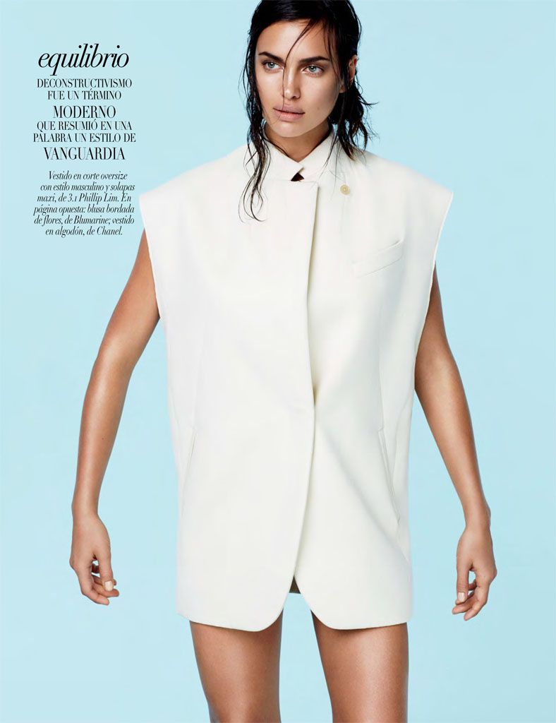 irina white shoot3 Irina Shayk Models Sleek Style for Vogue Mexico by David Roemer