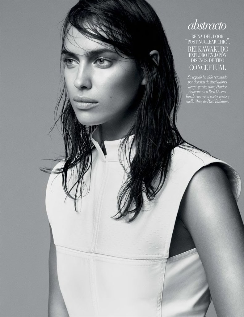 irina white shoot5 Irina Shayk Models Sleek Style for Vogue Mexico by David Roemer