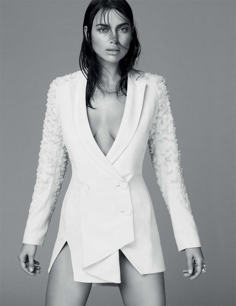irina white shoot8 Irina Shayk Models Sleek Style for Vogue Mexico by David Roemer