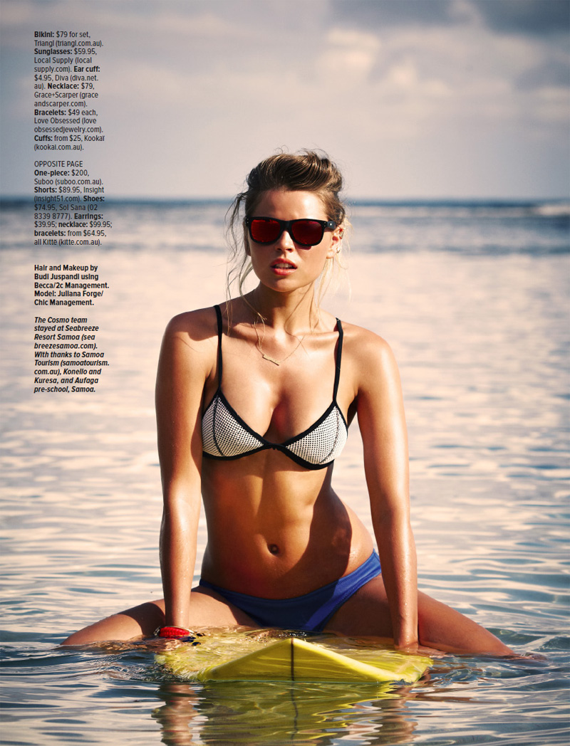 julianacosmopolitan8 Juliana Forge Models Surf Style for Cosmopolitan Australia January 2014