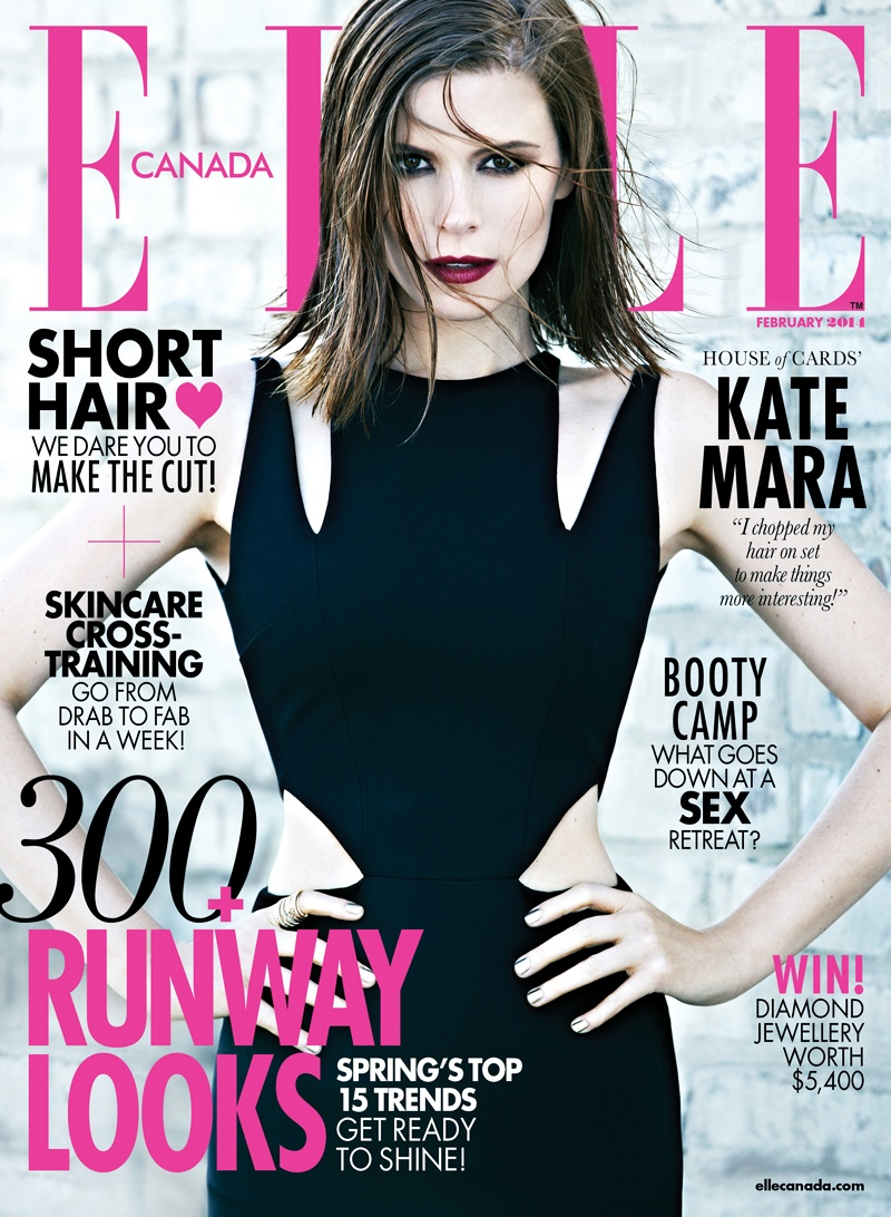 kate mara elle canada1 Kate Mara Poses for Elle Canadas February 2014 Cover Story