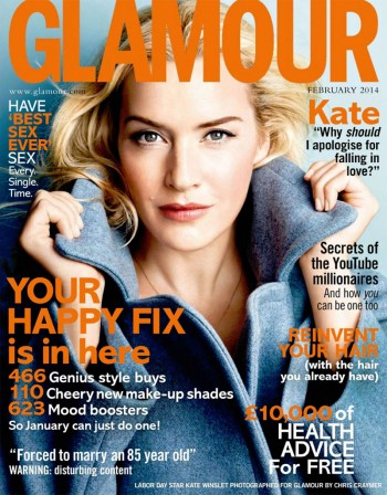Kate Winslet Graces Glamour UK February 2014 Cover by Chris Craymer