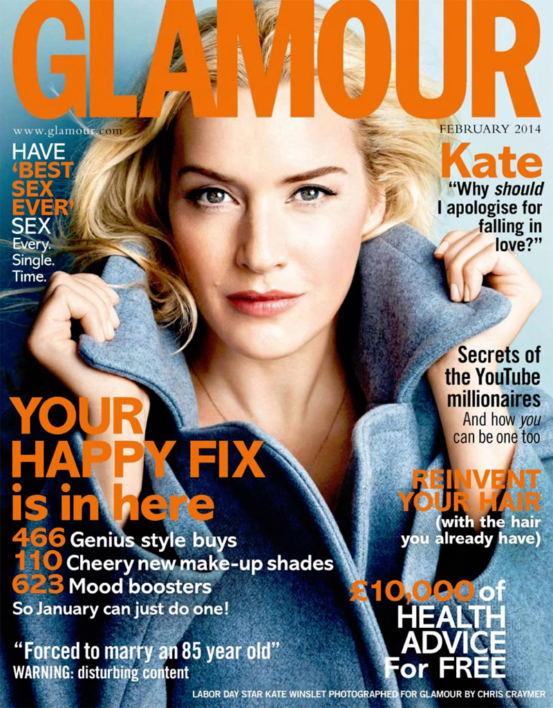 kate winslet photo shoot1 Kate Winslet Graces Glamour UK February 2014 Cover by Chris Craymer