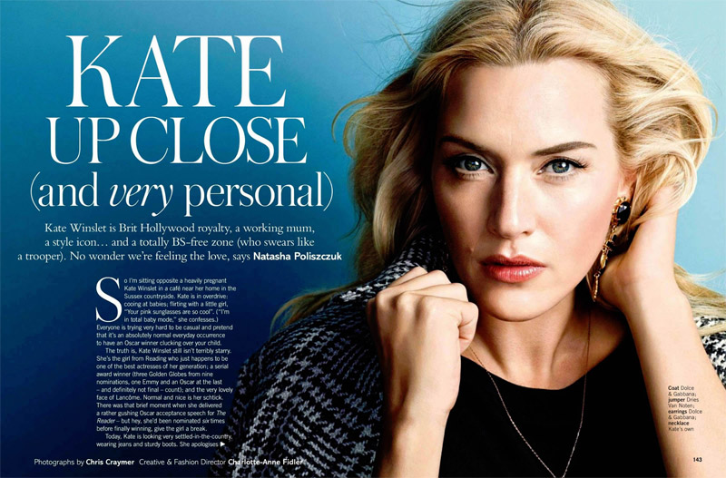 kate winslet photo shoot2 Kate Winslet Graces Glamour UK February 2014 Cover by Chris Craymer