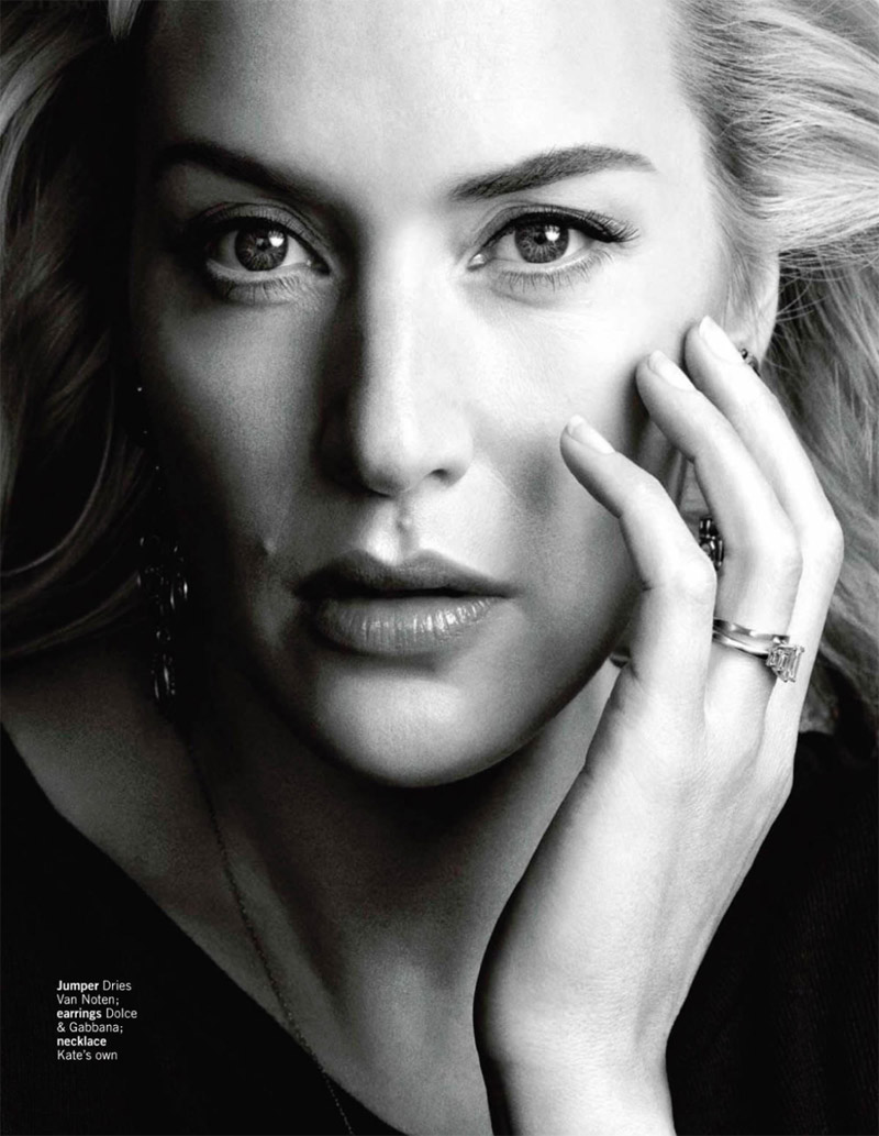 kate winslet photo shoot3 Kate Winslet Graces Glamour UK February 2014 Cover by Chris Craymer