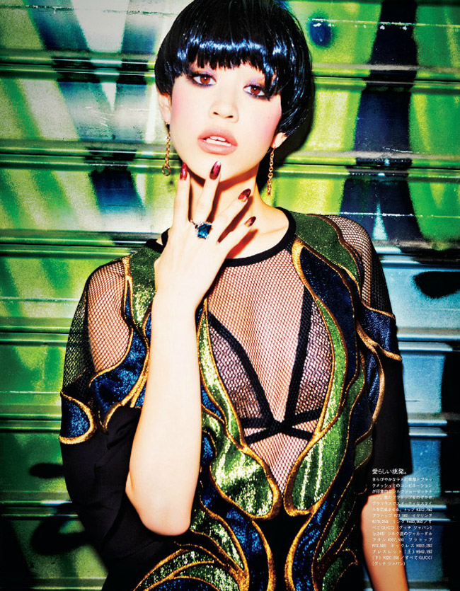 kiko gucci shoot3 Kiko Mizuhara Charms in Gucci for Ellen von Unwerth in Vogue Japan