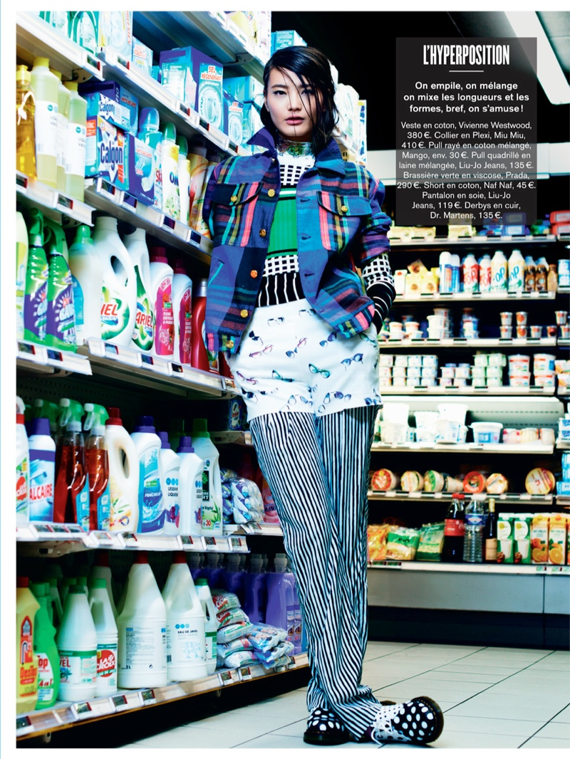 li wei naomi yang11 Li Wei Wears Spring Prints for Naomi Yang in Glamour France