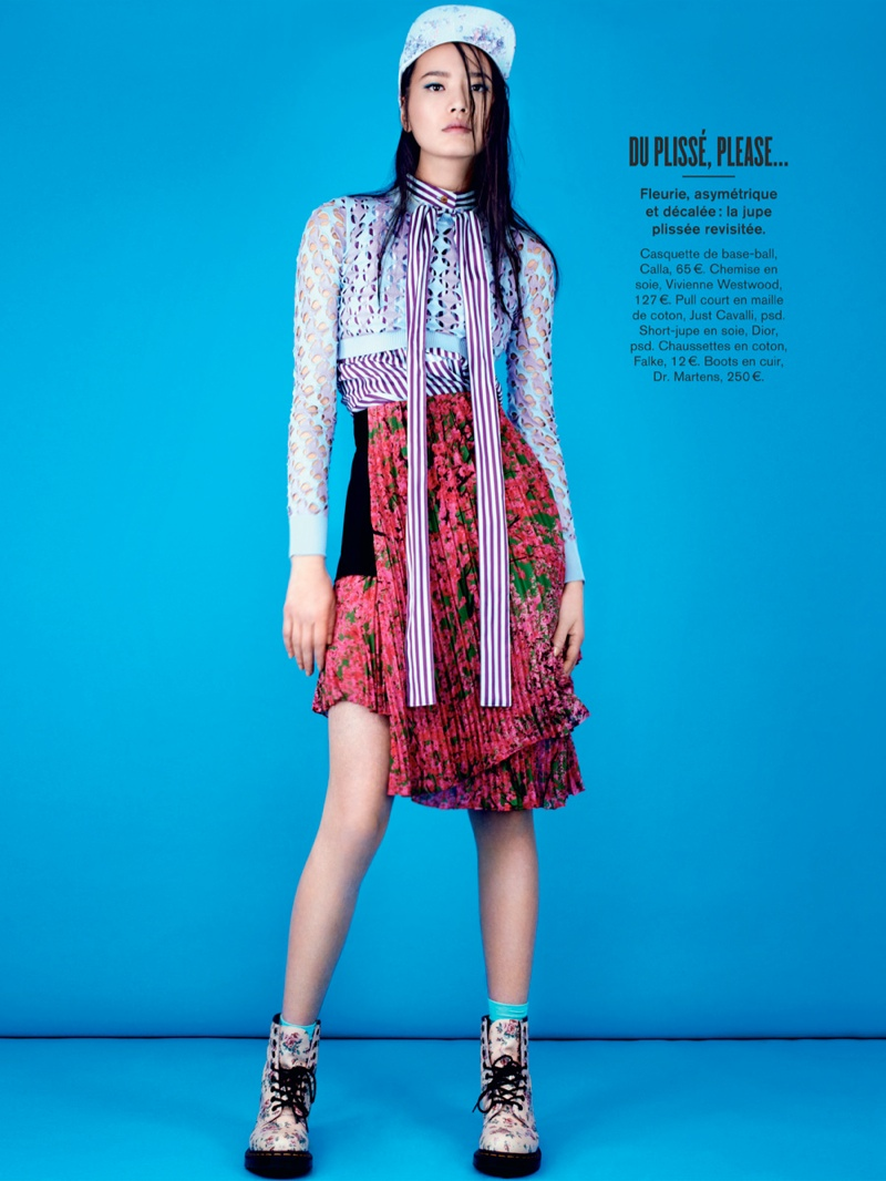 li wei naomi yang5 Li Wei Wears Spring Prints for Naomi Yang in Glamour France
